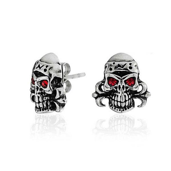 Bling Jewelry Uni Imitation Ruby July Birthstone Crystal Gothic Punk Rock Skull Stud Earrings Steel 13mm