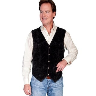Scully Western Vest Mens Leather Snap Black Calf Suede 507-214