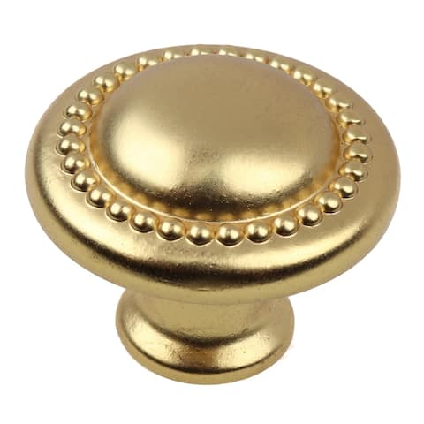 GlideRite 10-Pack 1-1/4 in. Gold Round Beaded Cabinet Knobs - Brass Gold