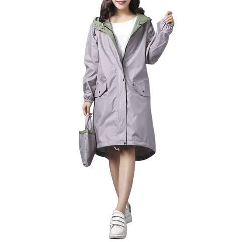 QZUnique Women's Lightweight Long Raincoat Waterproof Packable Double-Deck Hooded Raincoats Windbreak Jackets