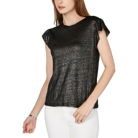 MICHAEL Michael Kors Womens Petites Pullover Top Metallic Linen - Black/Silver