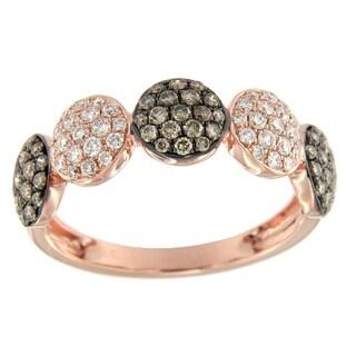 Prism Jewel 0.77Ct Round Brown Color Diamond & Diamond Wedding Band - White G-H