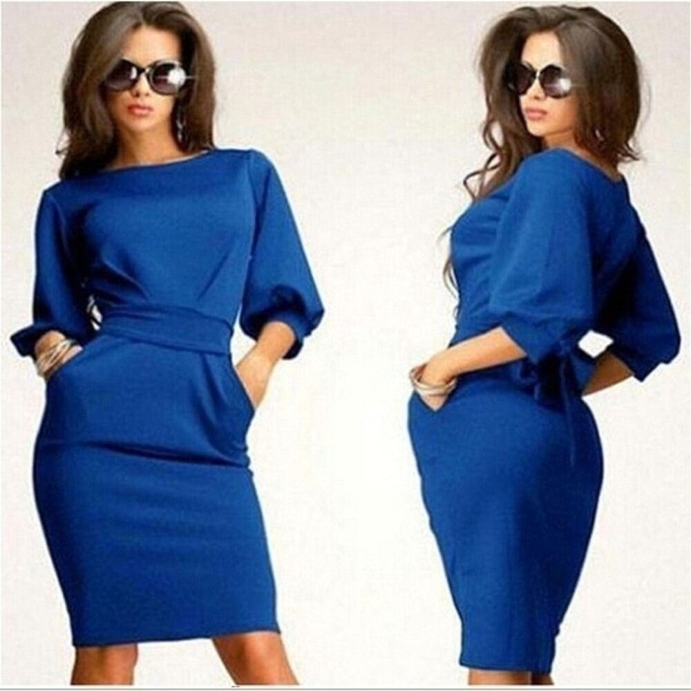 European Fashion Women Pure Color 7 Point Sleeve Dress Stylish Slim Waist Bodycon Dress Knee Length Dress Casaul Dress D31