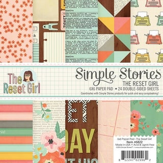 "Simple Stories Double-Sided Paper Pad 6""X6"" 24/Pkg-The Reset Girl, 12 Designs/2 Each"