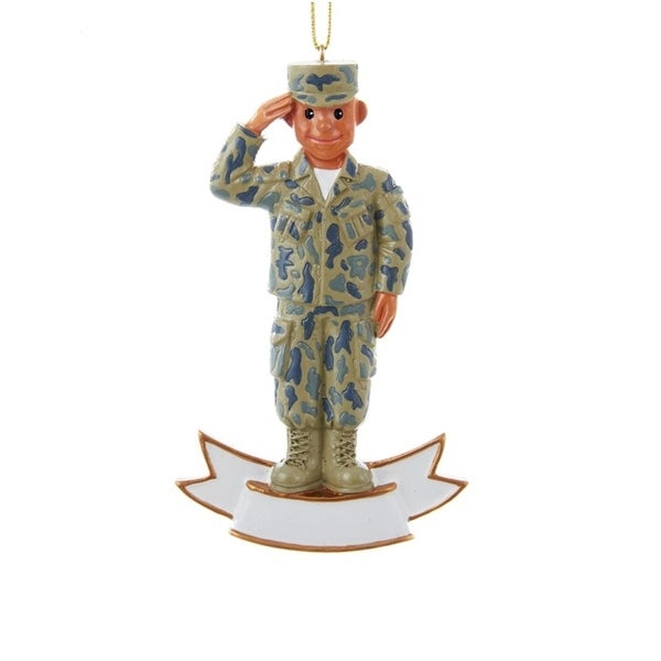 """4.25"""" U.S. Army Uniformed Soldier Saluting Decorative Christmas Ornament for Personalization - green"""