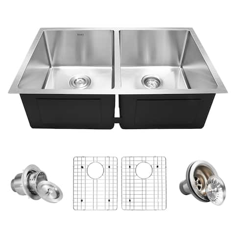 "Inoxs 32"" x 19"" x 10"" Undermount 50/50 Double Bowl 16 Gauge Stainless Steel Kitchen Sink/I-UD3219"