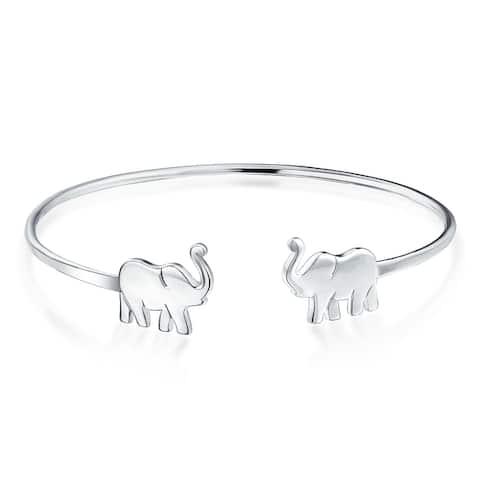 Thin Lucky Elephant Bangle Cuff Bracelet High 925 Sterling Silver