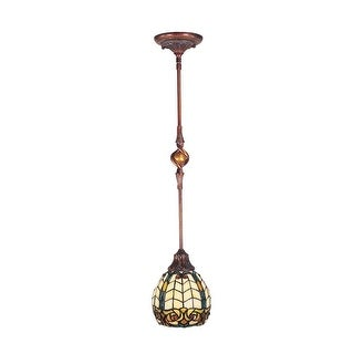 "31"" Antique Golden Sand Raphael Hand Crafted Glass Hanging Mini Pendant Ceiling Light Fixture"