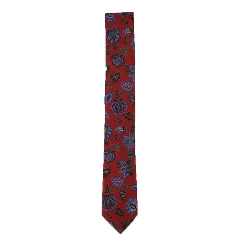 Bar III Men's Heron Floral Neck Tie Red One Size - One Size