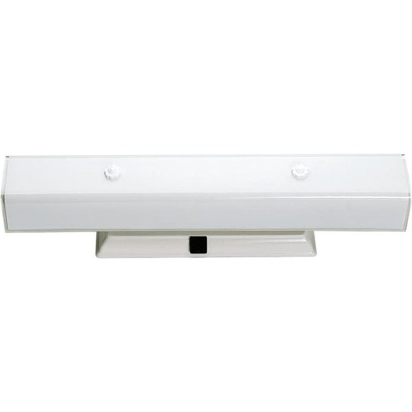 "Nuvo Lighting 77/991 Four Light 24"" Bathroom Fixture with White ""U"" Channel Glass and Convenience Outlet"