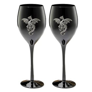 Design Toscano Wyvern Dragon Gothic Glass Goblet: Set of Two