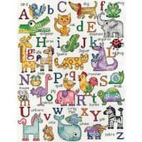 """12""""X16"""" 14 Count - Abc Animals Counted Cross Stitch Kit"""