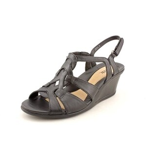 Earth Jasmine Women  Open Toe Leather Black Wedge Sandal