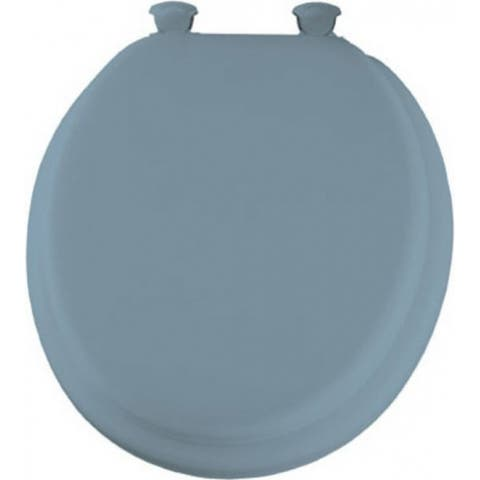 Mayfair 13EC-034 Round Cushioned Vinyl Soft Toilet Seat w/ Change Hinge, Sky Blue