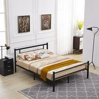 Metal Bed Frame with Headboard and Footboard Twin Full Queen Black