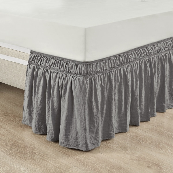 Lush Decor Ruched Ruffle Elastic Easy Wrap Around Bedskirt. Opens flyout.