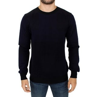Karl Lagerfeld Blue crew-neck pullover sweater