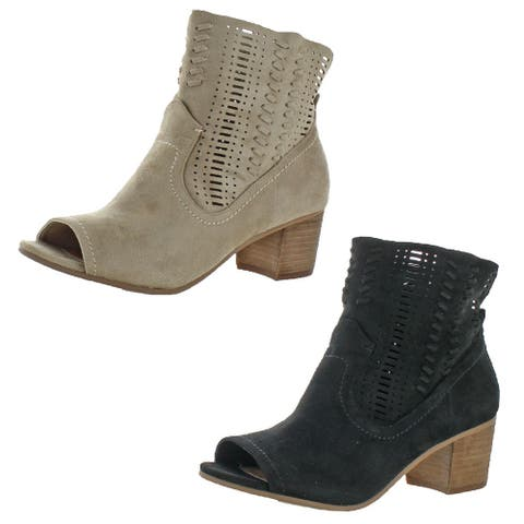 Not Rated Savio Women's Faux Suede Open Toe Stacked Heel Ankle Boot Bootie