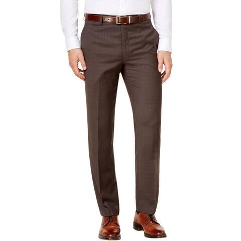 Ralph Lauren Mens Classic-Fit Windowpane Check Wool Dress Pants 40 x 30 Brown