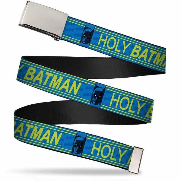 Blank Chrome Buckle Batman Face Holy Batman Bat Monogram Blues Yellow Web Belt
