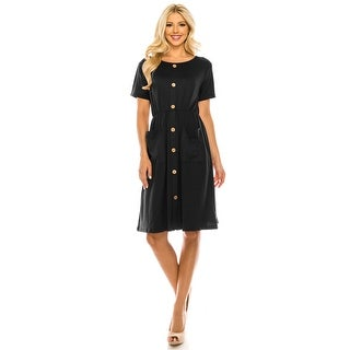Link to Haute edition Women's Solid button down dress with pockets Similar Items in Dresses