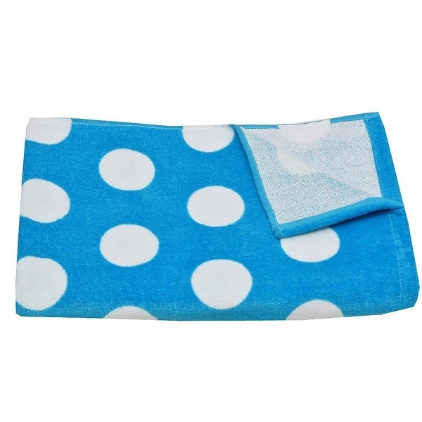 "Terry Town Girls Blue White Polka Dot Pattern Cotton Beach Towel 30""x60"""
