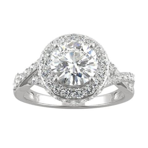 14k White Gold Moissanite by Charles & Colvard Round Full Halo Engagement Ring 2.36 TGW