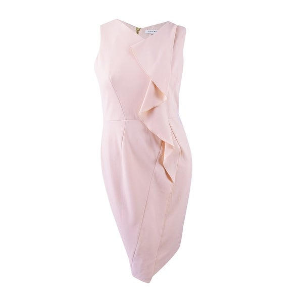 453275c7 Shop Calvin Klein Women's Ruffled Scuba Crepe Dress (12, Blush) - Blush - 12  - On Sale - Free Shipping Today - Overstock - 26398392