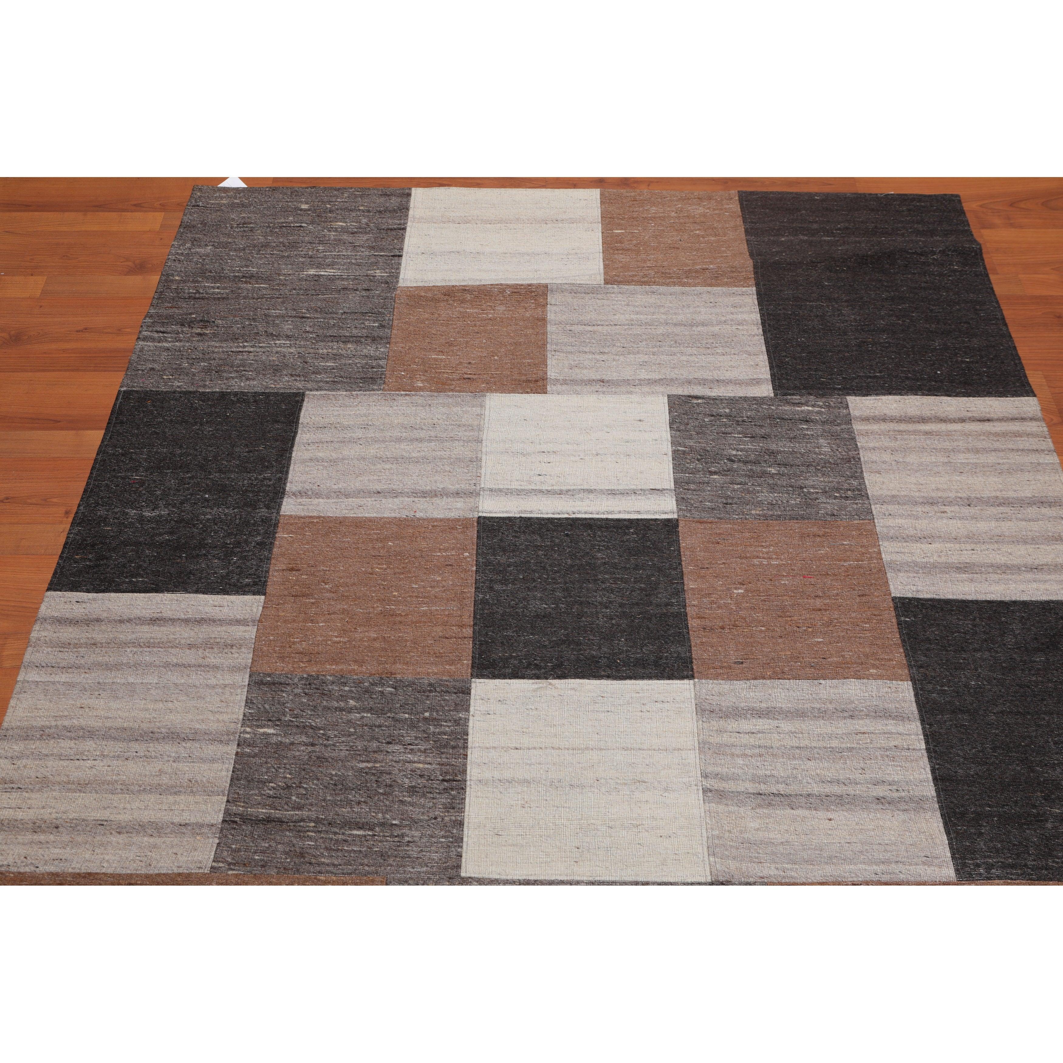 Hand Woven Geometric Earth Tones Beige Flatweave Wool Modern Contemporary Oriental Area Rug 5x7 5 X 7 Overstock 31510827