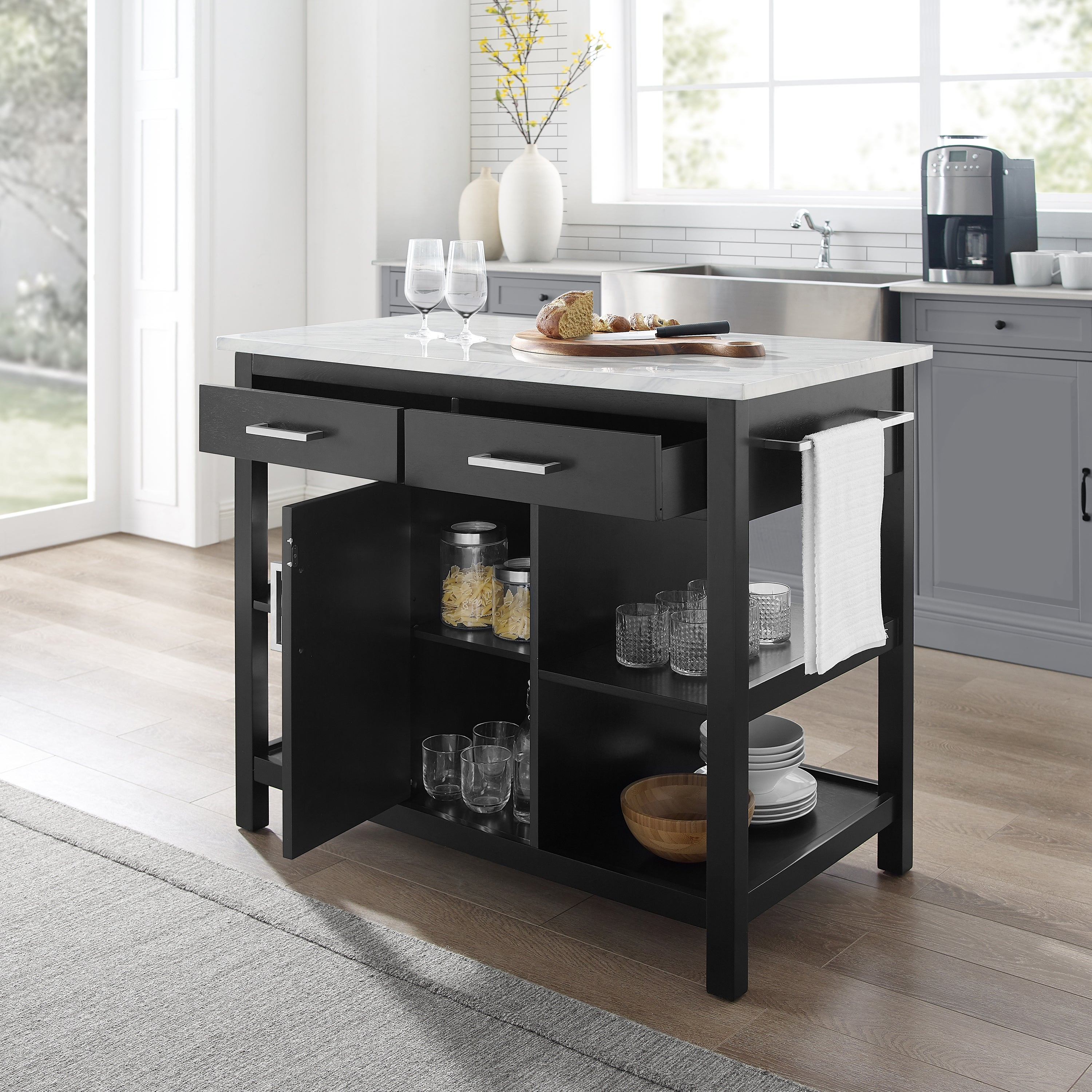 Audrey Black With Faux Marble Top Kitchen Island 42 W X 23 5 D X 36 H On Sale Overstock 31290659