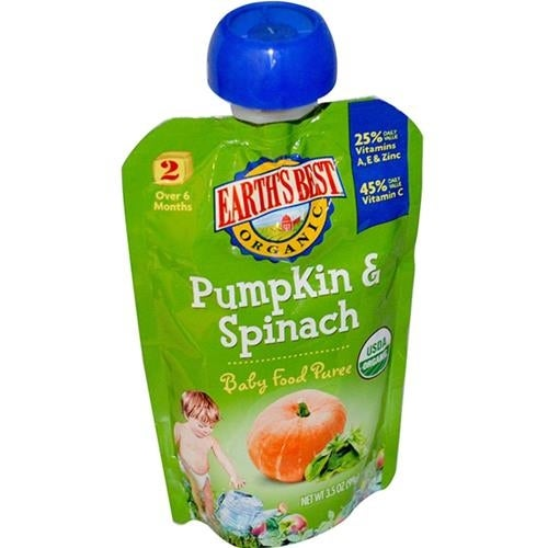 Earth's Best - Organic Pumpkin & Spinach Puree ( 12 - 3.5 OZ)
