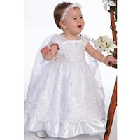 Angels Garment White Organza Overlay Cape Baptismal Dress Girl 6M-5 - 5