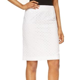 Nine West NEW Solid White Women's Size 10 Straight Pencil Eyelet Skirt|https://ak1.ostkcdn.com/images/products/is/images/direct/b39a8a27c54767d38360233527f96693a63f07b3/Nine-West-NEW-Solid-White-Women%27s-Size-10-Straight-Pencil-Eyelet-Skirt.jpg?impolicy=medium