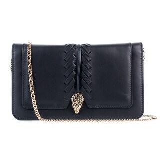 Cavalli Women's Black Leather Wallet Crossbody Bag - S