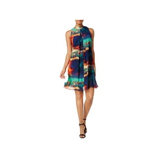Signature By Robbie Bee Womens Petites Cocktail Dress Tie-Neck Above Knee