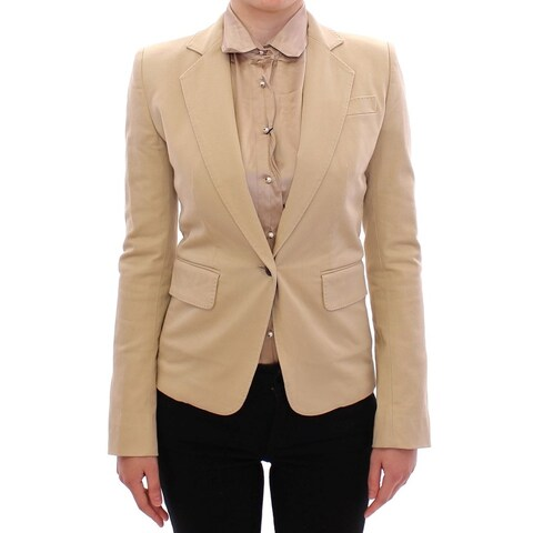 Dolce & Gabbana Dolce & Gabbana Beige Cotton Blazer Jacket - it36-xs