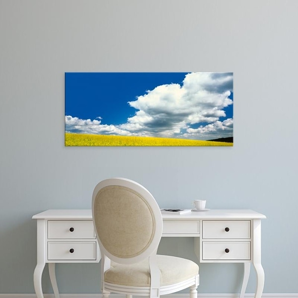 Easy Art Prints Panoramic Images's 'Scenic view of the Oilseed Rape field, Germany' Premium Canvas Art