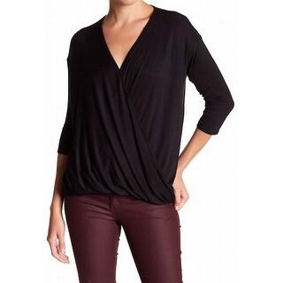 Michael Stars NEW Black Women's Size XS Faux Wrap V-Neck Knit Top