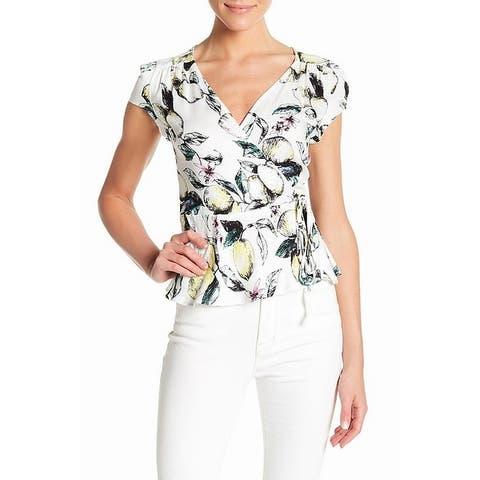 Love, Fire White Womens Size Large L Lemon-Print Surplice Knit Top