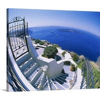 Premium Thick-Wrap Canvas entitled High angle view of steps, Santorini, Greece - Multi-color