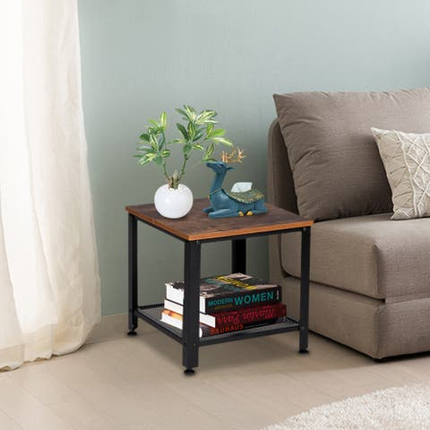 2-Tier Industrial End Table Side Table with Storage Shelf with Metal Frame