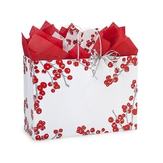 """Pack Of 250, Vogue 16 X 6 X 12"""" Berry Frost Recycled Paper Shopping Bags Made In Usa"""