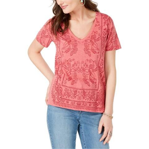 Lucky Brand Womens Bandana Basic T-Shirt, pink, Small