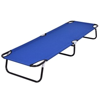 Costway Blue Folding Camping Bed Outdoor Portable Military Cot Sleeping Hiking Travel