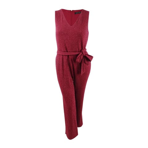 Ivanka Trump Women's Sparkle Belted Jumpsuit (14, Ruby) - Ruby - 14