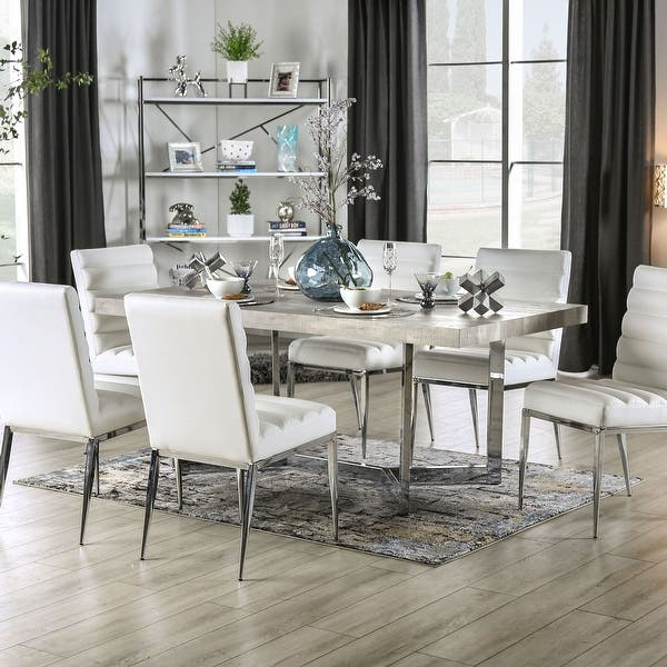 Shop Furniture Of America Lemm Contemporary Chrome Rectangular Dining Table Overstock 30978262