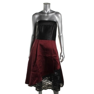 ABS Collection Womens Lace Trim Strapless Cocktail Dress