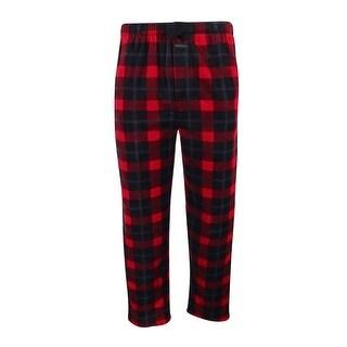 Perry Ellis Men's Plaid Fleece Pajama Pants (Black/Red, M) - Black/red - M