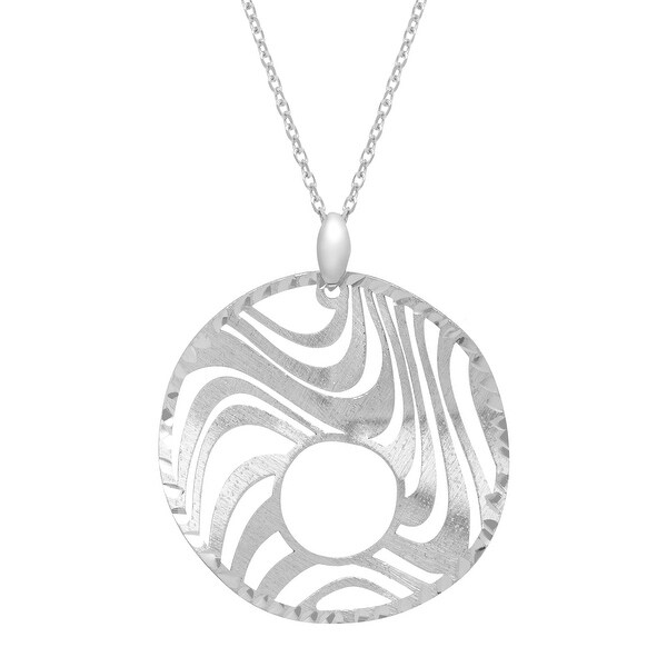 Textured Open Wave Pendant in Sterling Silver - White