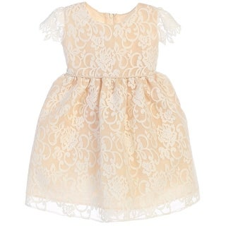 Sweet Kids Baby Girls Champagne Floral Embroidered Flower Girl Dress